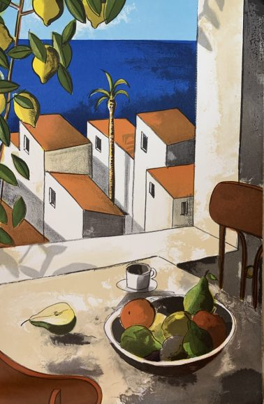 Coffee time, by Didier Lourenco (Spain), Limited edition of lithography, 66x90cm, HKD8000