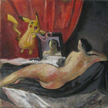 Divertimento Velazquez - Venus del espejo, by Didier Lourenco (Spain), Oil on canvas, 30x30cm, HKD12000