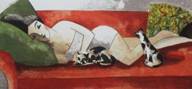 Gatos, by Didier Lourenco (Spain), Limited edition of lithography, 20x41cm, HKD6000