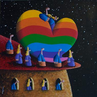 Heavenly Community, by Coplu (Canada), Acylic on canvas,  100x100cm, HKD33000