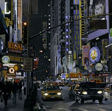 Lights of Broadway, by Jones Longas (Spain), Oil on canvas, 100x100cm, HKD42000