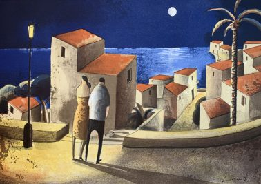 Moon night with her, by Didier Lourenco (Spain), Limited edition of lithography, 54x76cm, HKD6000