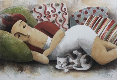 Pillows, by Didier Lourenco (Spain), Limited edition of lithography, 60x86cm, HKD6000
