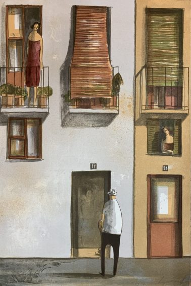 Visit her 2, by Didier Lourenco (Spain), Limited edition of lithography, 40x60cm, HKD6000